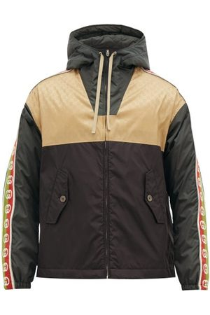 Gucci GG-jacquard Shell Hooded Jacket - Mens - Brown Multi
