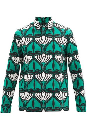 Prada Lily-print Cotton-poplin Shirt - Mens - Green White