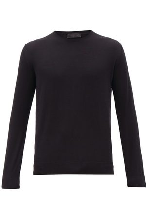Prada Long-sleeve Virgin-wool T-shirt - Mens - Black