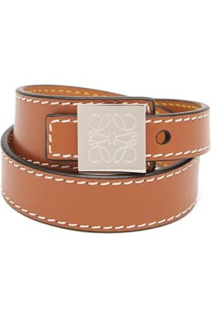 Loewe Logo-engraved Leather Wrap Bracelet - Mens - Brown