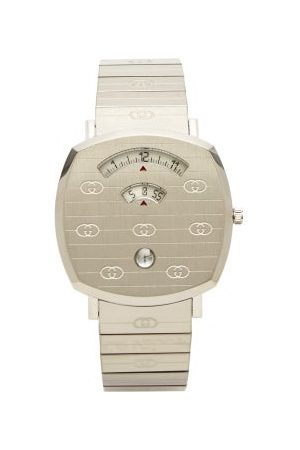 Gucci Grip Logo-engraved Stainless-steel Watch - Mens - Silver