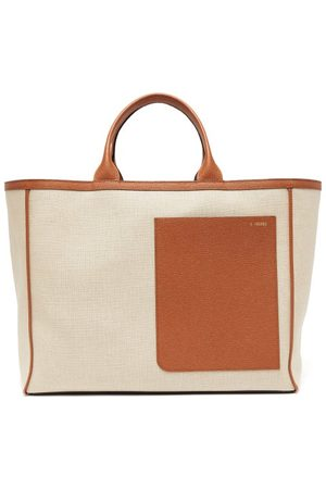 VALEXTRA Dames Shoppers - Shopping Large Canvas And Leather Tote Bag - Womens - Multi