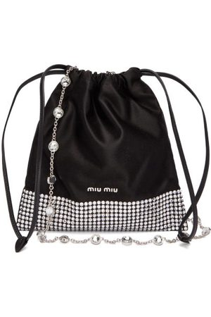 Miu Miu Dames Schoudertassen - Crystal-embellished Satin Cross-body Bag - Womens - Black Multi