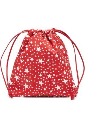 Miu Miu Dames Ringen - Star-print Drawstring Pouch - Womens - Red White