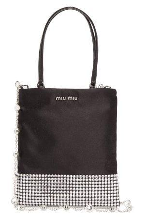 Miu Miu Dames Handtassen - Crystal-embellished Satin Bag - Womens - Black Multi