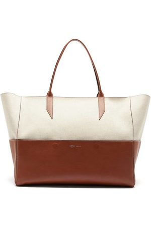 Métier Dames Shoppers - Incognito Large Linen And Leather Tote Bag - Womens - Tan Multi