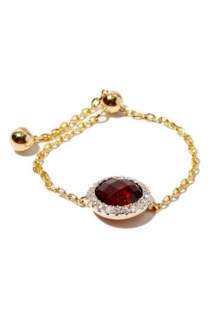 Anissa Kermiche January Diamond, Garnet & 14kt Gold Chain Ring - Womens - Red