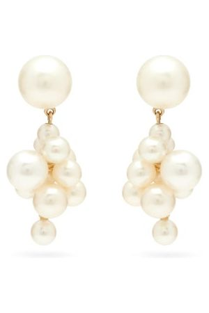 SOPHIE BILLE BRAHE Dames Oorbellen - Boticelli Pearl Cluster & 14kt Gold Earrings - Womens - Pearl