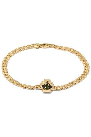 Gucci Lion-head 18k Gold & Diopside Chain Bracelet - Womens - Green Gold