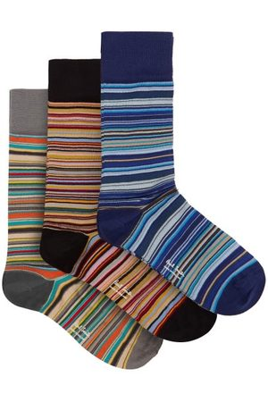 Paul Smith Pack Of Three Signature Stripe Cotton-blend Socks - Mens - Multi