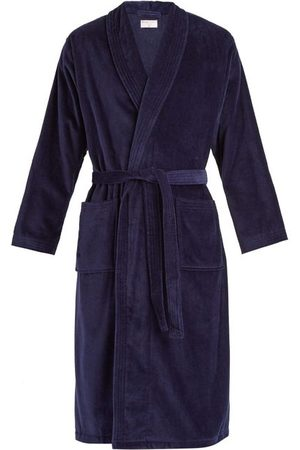 Derek Rose Triton Cotton-velour Bathrobe - Mens - Navy