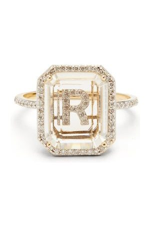 Mateo Initials Diamond, Quartz & 14kt Gold Ring R-z - Womens - Crystal