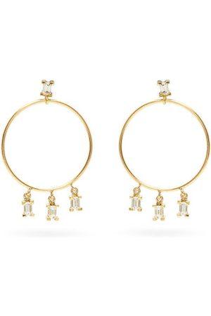 Ileana Makri Dames Oorbellen - Baguette Diamond & 18kt Gold Hoop Earrings - Womens - Yellow Gold