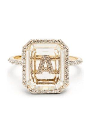 Mateo Dames Ringen - Initials Diamond, Quartz & 14kt Gold Ring A-i - Womens - Crystal