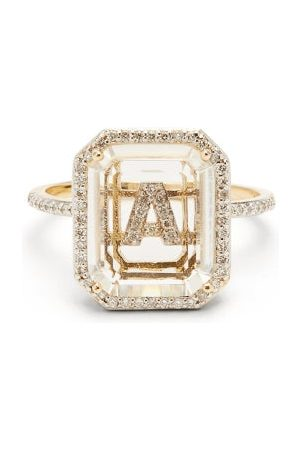 Mateo Initials Diamond, Quartz & 14kt Gold Ring A-i - Womens - Crystal