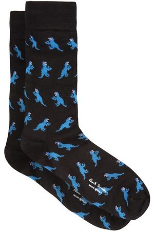 Paul Smith Heren Sokken & Kousen - Dinosaur Intarsia-knit Socks - Mens - Black