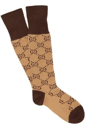 Gucci GG-intarsia Cotton-blend Socks - Mens