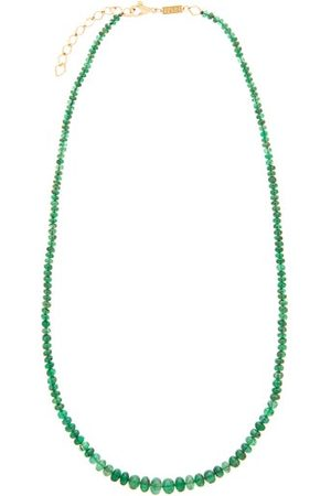 Azlee Dames Kettingen - Emerald & 18kt Gold Beaded Necklace - Womens - Emerald