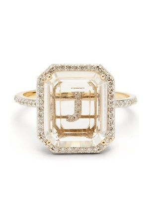 Mateo Dames Ringen - Initials Diamond, Quartz & 14kt Gold Ring J-q - Womens - Crystal