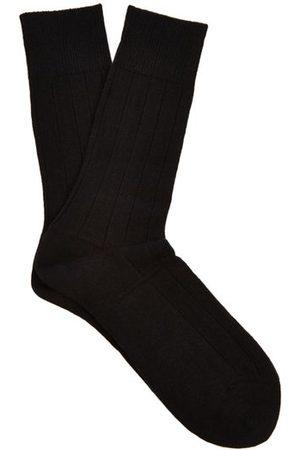 Falke Lhasa Wool And Cashmere-blend Socks - Mens - Black