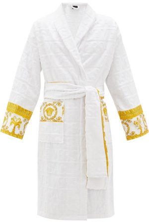 VERSACE I Love Baroque Logo-jacquard Cotton Bathrobe - Mens - White
