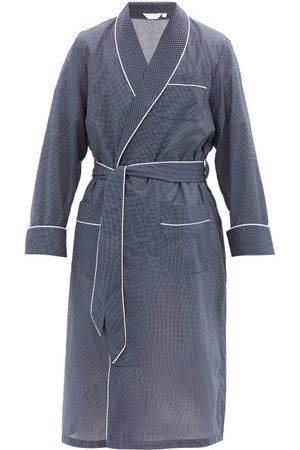 DEREK ROSE Heren Badjassen - Plaza Polka-dot Cotton Robe - Mens - Navy