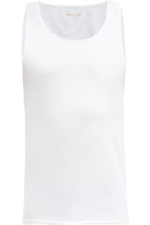 DEREK ROSE Pima Cotton-blend Jersey Tank Top - Mens - White