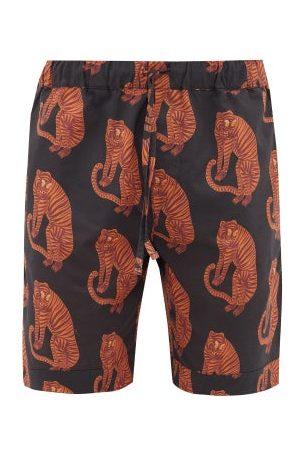 Desmond & Dempsey Tiger Printed Pyjama Shorts - Mens - Black Orange