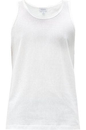 Sunspel Cellular-cotton Tank Top - Mens - White