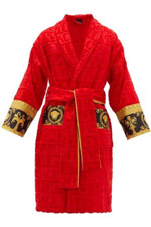 VERSACE I Love Baroque Logo-jacquard Cotton Bathrobe - Mens - Red