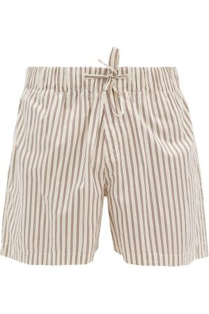 Tekla Heren Shorts - Drawstring-waist Cotton-poplin Pyjama Shorts - Mens - Cream Multi