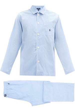 Polo Ralph Lauren Logo-embroidered Gingham Cotton Pyjamas - Mens - Blue