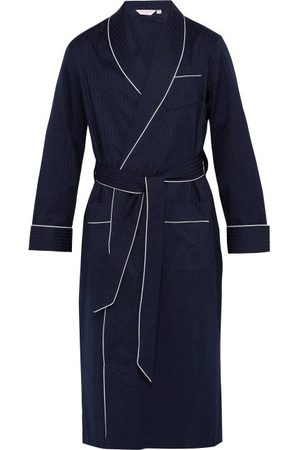 DEREK ROSE Polka-dot Jacquard-stripe Cotton Robe - Mens - Navy