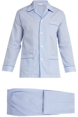 DEREK ROSE James Striped Cotton Pyjamas - Mens - Blue