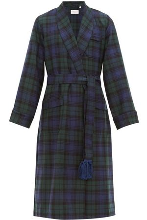 DEREK ROSE Black Watch Tartan-wool Dressing Gown - Mens - Green