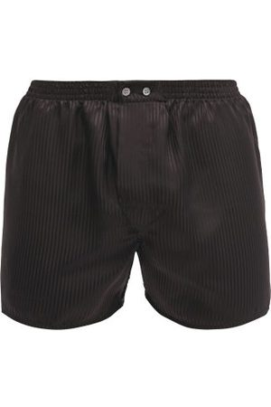 DEREK ROSE Woburn Satin-striped Silk Boxer Shorts - Mens - Black Multi
