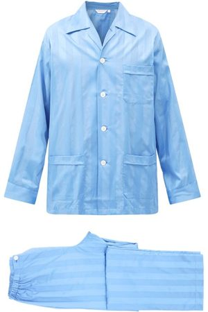 DEREK ROSE Lingfield Striped Cotton Pyjamas - Mens - Light Blue