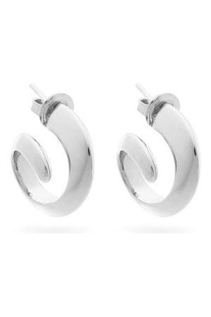 Bottega Veneta Coiled Silver Hoop Earrings - Womens - Silver