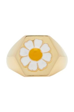 Wilhelmina Garcia Gold-vermeil Daisy Signet Ring - Womens - Gold Multi