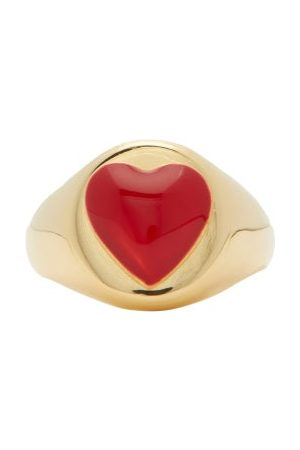 WILHELMINA GARCIA Heart Enamel & 18kt Gold Signet Ring - Womens - Red Gold