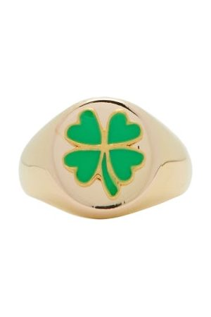 Wilhelmina Garcia Gold-vermeil Clover Signet Ring - Womens - Green Gold