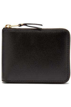 Comme des Garçons Heren Portemonnees - Zip-around Leather Bi-fold Wallet - Mens - Black