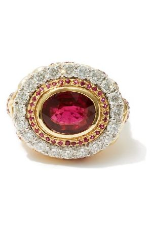 JADE JAGGER Diamond, Ruby & 18kt Gold Cocktail Ring - Womens - Red Gold