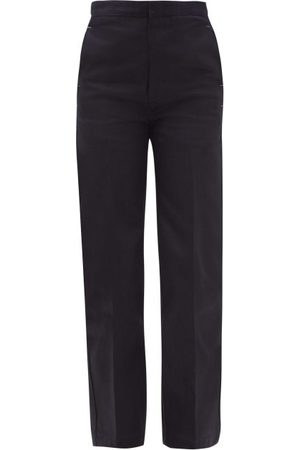 Jil Sander Dames Straight - High-rise Tailored Jeans - Womens - Dark Blue