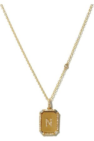 Shay Dames Kettingen - Nameplate Diamond & 18kt Gold Necklace (n-z) - Womens - Yellow Gold