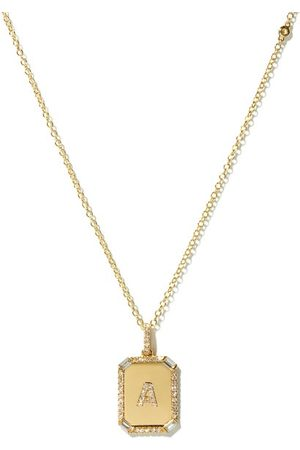 Shay Dames Kettingen - Initial Diamond & 18kt Gold Necklace (a-m) - Womens - Yellow Gold