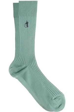 London Sock Company Simply Sartorial Rib-knitted Cotton-blend Socks - Mens - Green