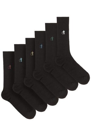 London Sock Company Simply Black Pack Of Six Ribbed Cotton-blend Socks - Mens - Black