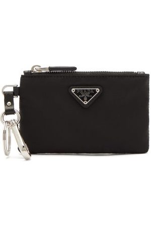 Prada Logo Plaque Nylon Purse - Mens - Black