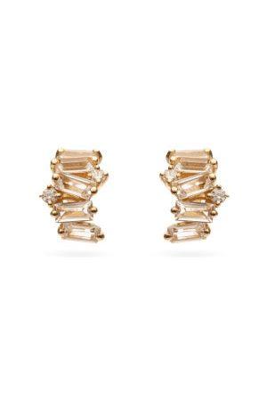Suzanne Kalan Diamond & White Topaz 14kt Hoop Earrings - Womens - Yellow Gold